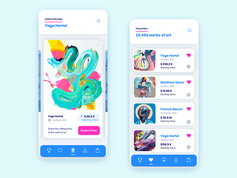 Art Gallery App with Trivia Game blue art mobile app game gamification ux ui