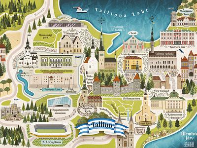 Tallinn Map Postcard flat retro postcard map baltic estonia eesti tallinn