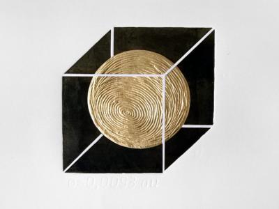 99,86 % * embossing karazuri hand made hand made print minimalism cosmos sun gold golding drystamp chine-collé linocut printmaking