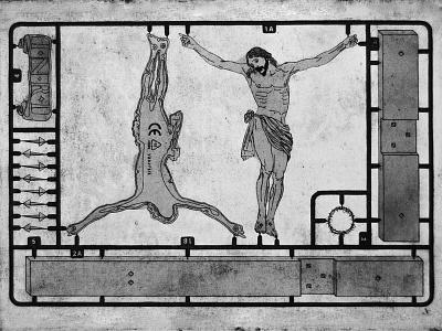 Crucifix intaglio stencil printmaking