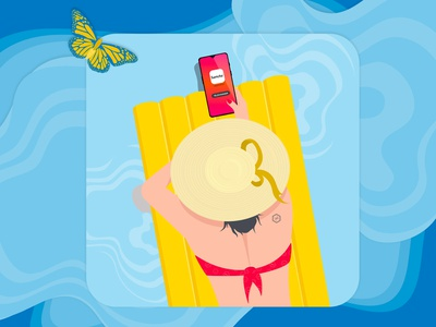 Summer magazine cover blue and yellow aqua butterfly summer vector illustration designgraphic illustrator
