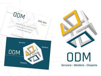 Odm Identité Visuelle businesscard geometic blue and yellow logo designgraphic