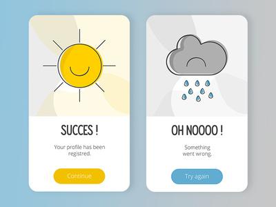 #011 Flash Message cloud sun weather flash message mobile design dailyui