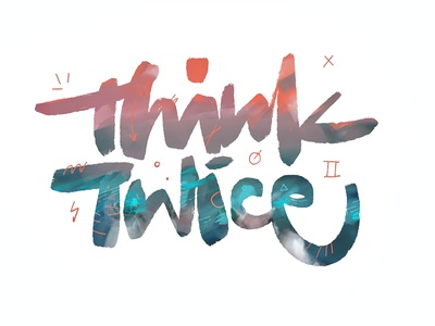 Think Twice music album title logo identity graphic design symbols signs colors illustration paint handlettering brushlettering script letters font composition lettering brush