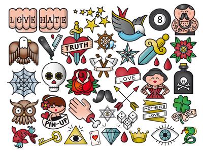 Line / Emojis - Old School Tattos picto draw vectorial truth hate love oldschool icons set icon vector graphic line tatuajes tattoo design tattoos drawing cadiz design illustration ilustracion
