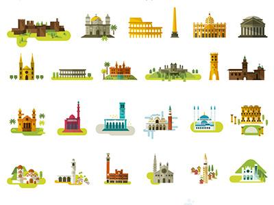 City Monuments design icons illustration turism map spain mediterraneo rebomboestudio rebombo monuments city