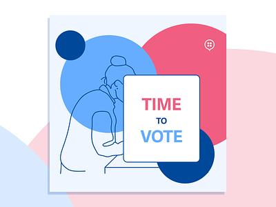 Time to Vote vote flat hand drawn illustration design