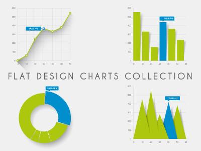 Flat charts flat chart graph diagram flat design minimalistic