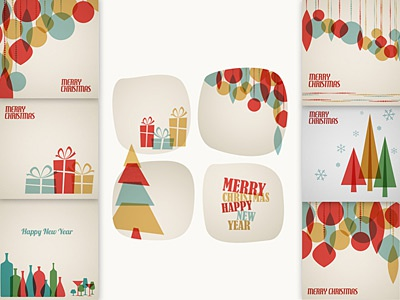 Retro Christmas Card Templates collection template card christmas retro
