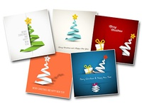 Set of 5 simple christmas cards simple ribbon stripe paper card christmas