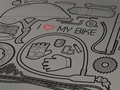 I Love My Bike bike objects t-shirt black