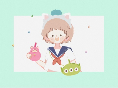 Disney girl—Gelatoni alien sketch potter painting illustration girl drawing disney comic cloud green anime