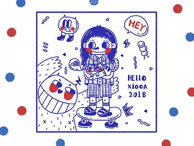 Skateboarding girl girl sketch red potter painting illustration drawing comic cloud blue anime alien
