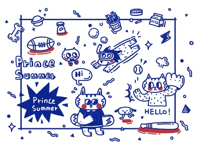 Cute little animals cat sketch red potter painting illustration drawing comic cloud blue anime alien