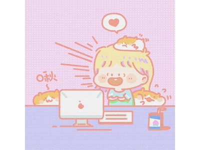 Hamster girl sketch hamster potter painting illustration girl drawing comic cloud pink anime alien