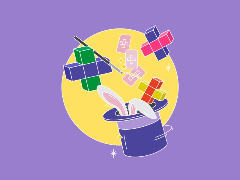Magician Hat top hat magic wand purple cards vector art white rabbit minimal pluses linear flat illustration vector