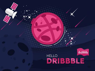 Hello Dribbble creative photoshop graphic design