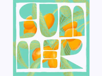 Summer leaves summer draw procreate illustration