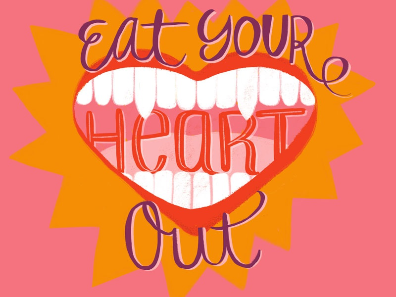 Eat Your Heart Out fangs teeth valentine pink hand drawn type heart