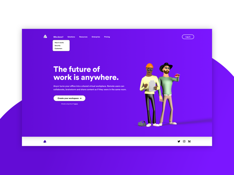 ANYVR – Website Exploration design typography vr purple c4d 3d landingpage website