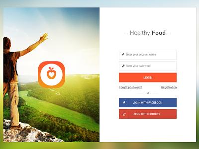 Healthy Food (login screen) healthy food app appdesign ui ux userinterface userexperience design mobile mobileap login