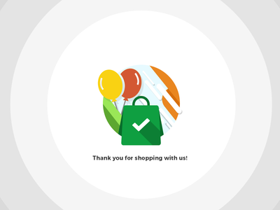Thank You! flat icon illustration final step shipping delivery checkout shop