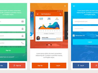 Screeeens android ios mobileapp uikit kit freebie stats mobile design app ux ui