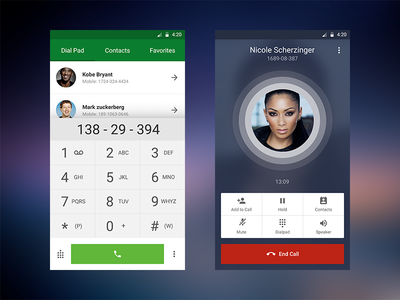 Dial Pad + Nicole android ux ui free contacts dialled caller calling freebie app