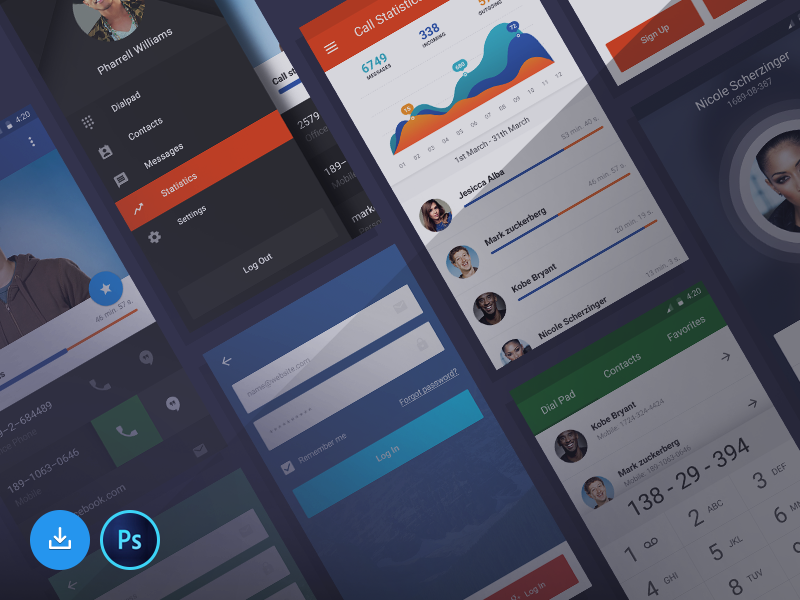 Free Ui Kit For Stars statistics free android app stars mobile ux kit ui freebie