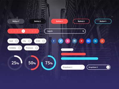 Dark City UI Elements buttons search social graphs dark city ui ux elements design ui kit