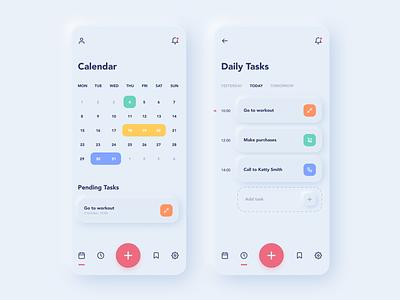 Daily Tasks App ux calendar ui neomorphism minimalist tasks ios app mobile design