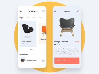 Furniture Shop App shop ecommerce ux ui minimalism app design furniture modern ios mobile app mobile
