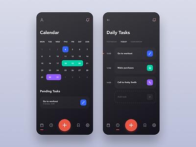 Daily Tasks App tasks calendar mobile minimalism ios app ux ui design