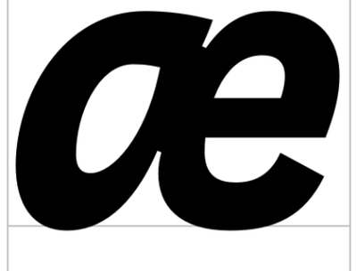 ae (U+00E6) Interpol Correspondence Italic sans serif glyph typeface font typeface design type design