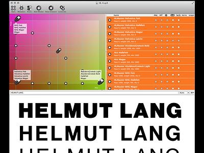 Interpolation of Helmut Lang logo font typeface design helmut lang logo design type design all caps sans serif custom type interpolation superpolator