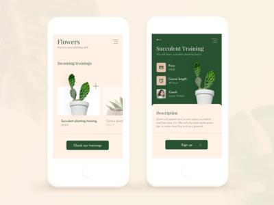 Flowers planting training App Concept