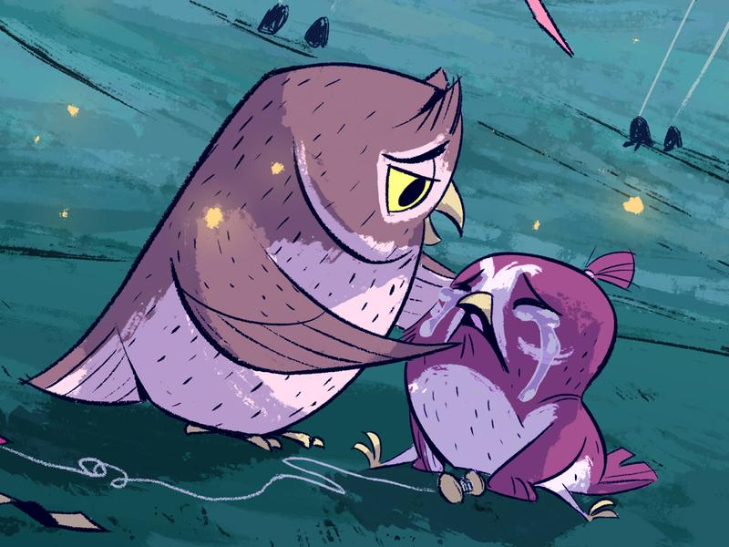Night Kites bird owl character design drawing kidlitart digital art illustration