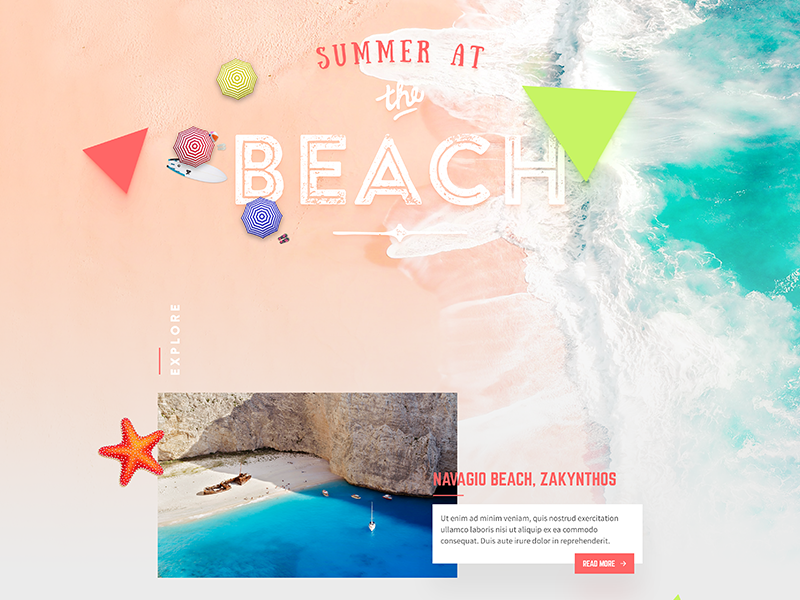 Travel oriented Homepage beach summer eshop user interface typography flat golden ratio home homepage