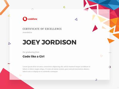 Certificate of Graduation golden ratio typography geometric polygonal vodafone certificate