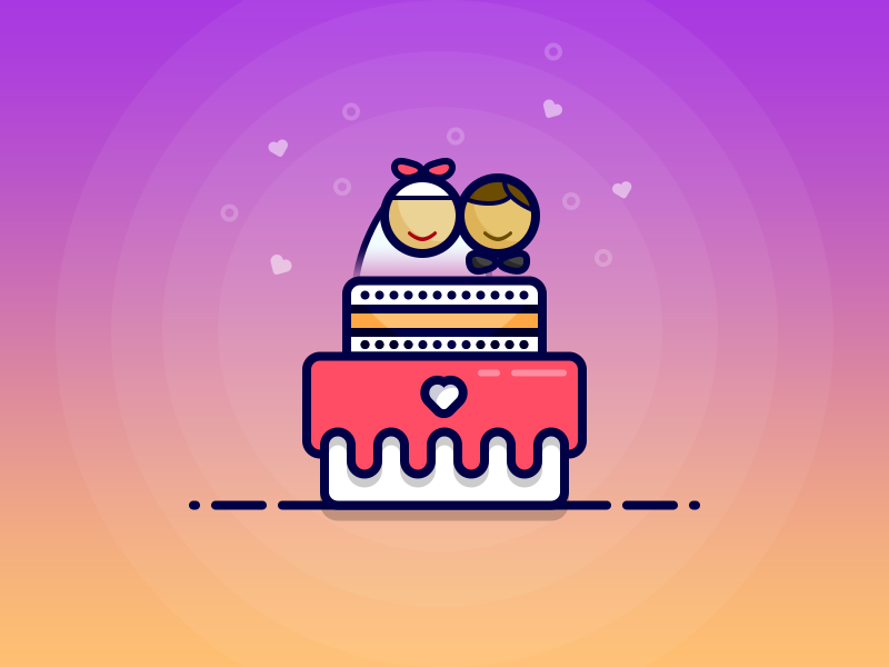 Wedding Cake vector groom bride cake illustration icon