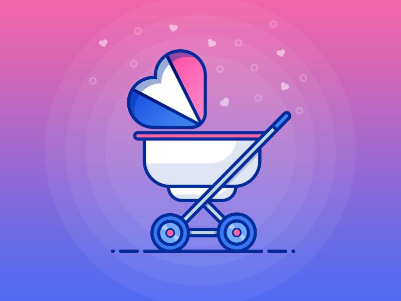 Stroller vector icon illustration stroller