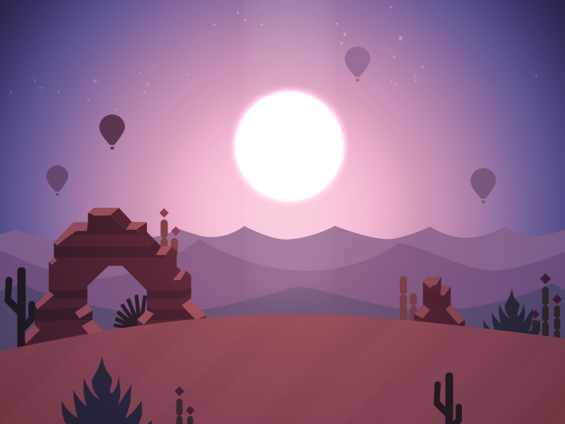 Alto's Odyssey Scenery mountains sun vector illustration altos odyssey scenery