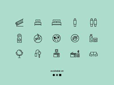Hotel Icons outlines line icons minimal simple hotel illustration ui icons