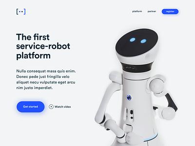 Landing-Page Intro landing-page iteration concept art direction 3d blue web teaser minimal design clean website ui