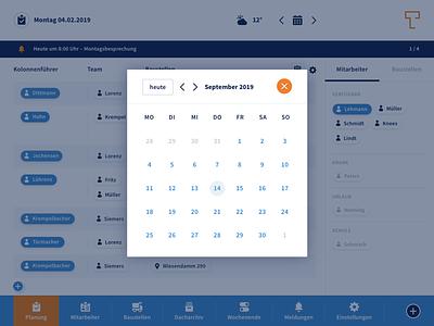 Dashboard: Personnel Planning responsive design orange blue white minimal design flat clean web application development web application design web app app ui  ux design ux ui