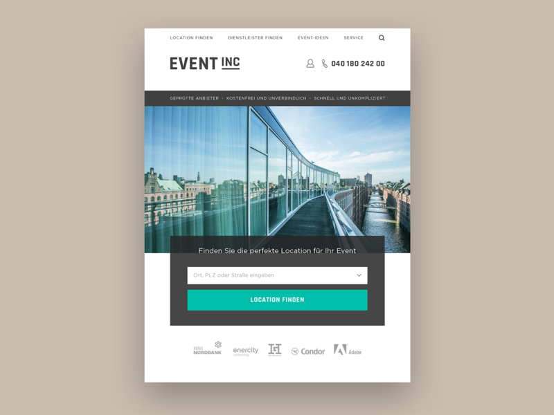 Event Inc Style Exploration typography digital homepage branding concept teaser web white flat clean responsive design minimal design website ux ui
