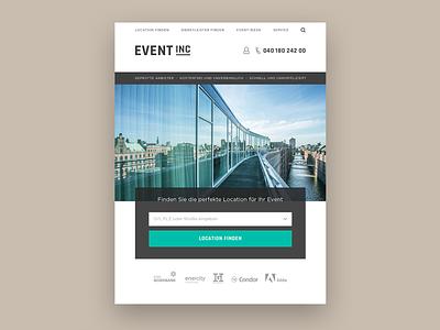 Event Inc Style Exploration typography digital homepage branding concept teaser web white flat clean responsive design minimal design website ux ui