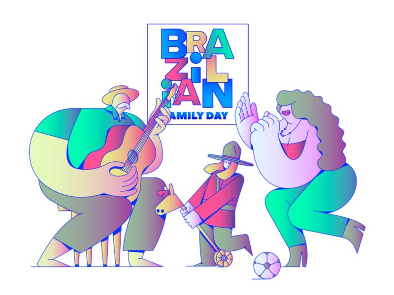 Brazilian Family Day 2018 / Vancouver CA samba guitar tropical family modernism infographic print web icon ui branding illustration