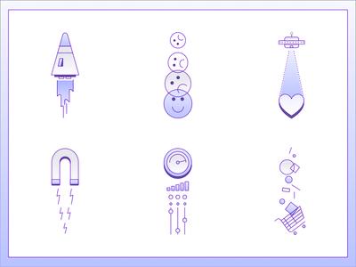 Sci-fi Icons branding web design ui sales spaceship aliens gradient icons iconography illustration