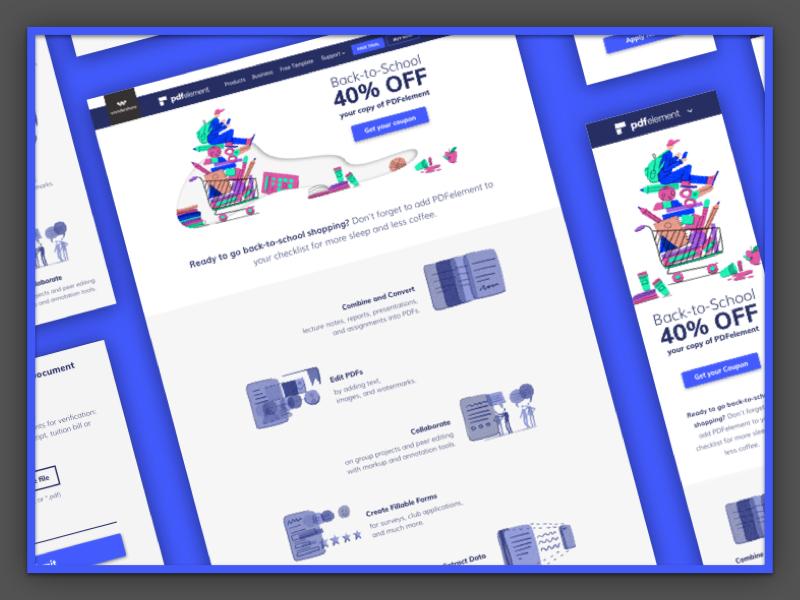 PDFelement: Back-to-School Sale Campaign shopping marketing seasonal branding coffee school ux ui illustrations